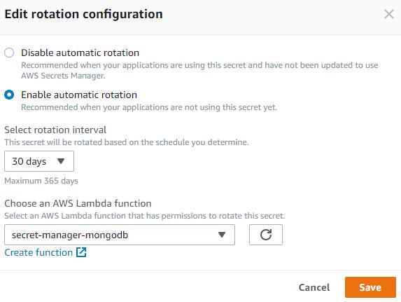 Enable secret rotation in AWS Secrets Manager.